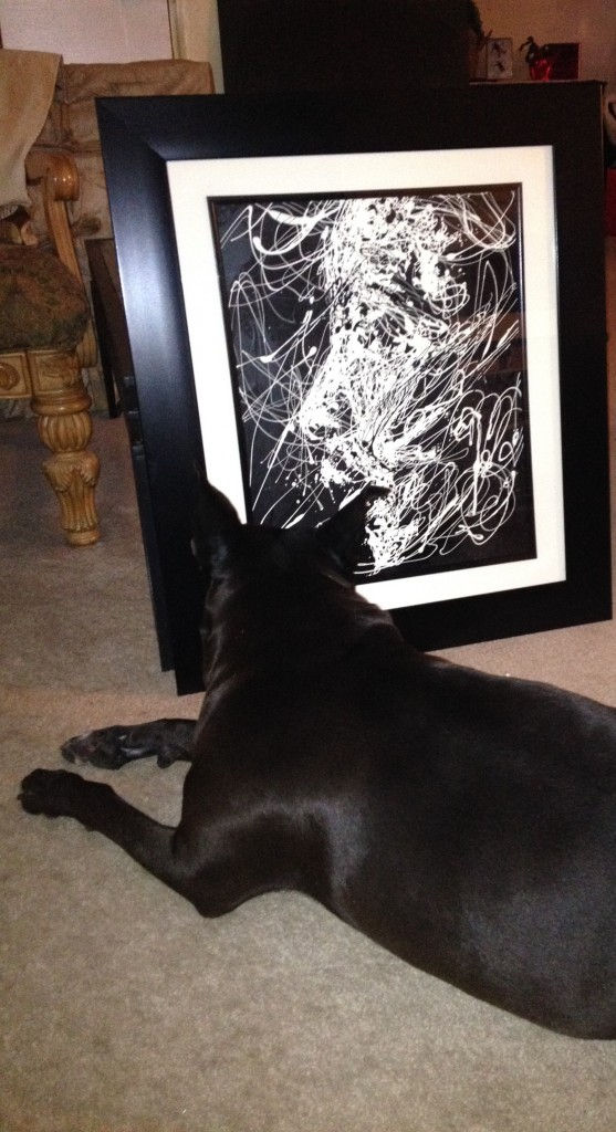 "My dog *BLADE   stares for hours at   every piece (I complete)...   *GALLERY and   *MUSEUM        tested,   Pit Bull approved   "" ART is LIFE """