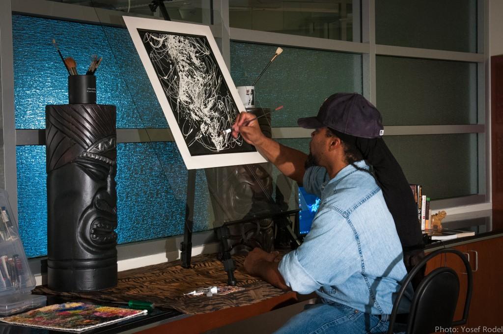Artist T.M. NOEL at ANGRYHOUZE Studios, NYC...